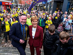 "Nicola Sturgeon begins election campaign in Stirling, Wednesday, 30th October 2019<br />  <br /> Scotland's First Minister and leader of the Scottish National Party Nicola Sturgeon joined Alyn Smith, the SNP's candidate for Stirling, on the campaign trail in Stirling today.<br />  <br /> The First Minister vowed to ""take the fight to the Tories"" in a general election, to escape from Brexit and let Scotland decide its own future.<br />  <br /> Speaking ahead of her visit, Nicola Sturgeon said:<br />  <br /> ""The SNP is ready for an election. We stand ready to take the fight to the Tories, to bring down this undemocratic government, and give Scotland the chance to escape from Brexit and decide our own future.<br />   <br /> ""Scotland has been ignored and treated with contempt by Westminster, and this election is an opportunity to bring that to an end.<br />  <br /> ""A win for the SNP will be an unequivocal and irresistible demand for Scotland's right to choose our own future.""<br />  <br /> The First Minister also met with staff and local children to see and discuss the Stirling Spider Slide exhibition.<br /> <br /> Pictured: Nicola Sturgeon MSP and Alyn Smith MEP walk around Stirling and meet locals and activists<br /> <br /> Alex Todd 