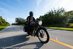 Keith Martin riding his 1938 Triumph 500 cc Speed Twin in the Cross Country Chase motorcycle endurance run from Sault Sainte Marie, MI to Key West, FL. (for vintage bikes from 1930-1948). Stage-9 covered 259 miles from Lakeland, FL to Miami, FL USA. Saturday, September 14, 2019. Photography ©2019 Michael Lichter.
