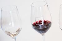 SCHWEIZ - TOLOCHENAZ - Je ein Glas Weisswein und Rotwein von Cave de la Côte - 23. Januar 2020 © Raphael Hünerfauth - http://huenerfauth.ch