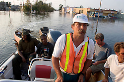 05 Sept  2005. New Orleans, Louisiana. Post hurricane Katrina.<br /> Animal rescue boat. Jimmy Delery, captain of a private rescue boat works all hours to save people and animals  from the devastating floods in Uptown New Orleans.<br /> Photo; ©Charlie Varley/varleypix.com