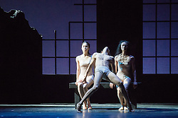 © Licensed to London News Pictures. 14/08/2013. Shanghai Ballet Company make their highly anticipated UK debut with performances of Jane Eyre, an original, innovative ballet production choreographed by Patrick de Bana. Picture shows: Ji Pingping (Jane), Wu Husheng (Rochester) & Fan Xiaofeng (Bertha). Photo credit: Tony Nandi/LNP