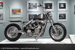 """Lock Baker's custom Harley-Davidson Twin-Cam in Michael Lichter's Motorcycles as Art annual exhibition titled """"The Naked Truth"""" at the Buffalo Chip Gallery during the 75th Annual Sturgis Black Hills Motorcycle Rally.  SD, USA.  August 4, 2015.  Photography ©2015 Michael Lichter."""