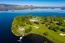Aerial view of Loch Lomond Golf Club on shores of Loch Lomond, Argyll and Bute, Scotland, UK