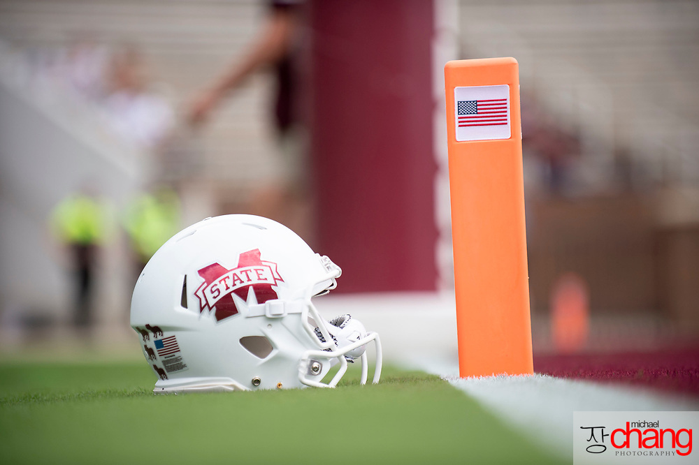 STARKVILLE, MS - SEPTEMBER 21: General view of the Mississippi State Bulldogs helmet prior to the matchup between the Mississippi State Bulldogs and the Kentucky Wildcats at Davis Wade Stadium on September 21, 2019 in Starkville, Mississippi. (Photo by Michael Chang/Getty Images) *** Local Caption ***
