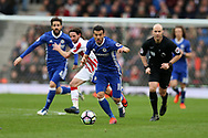 Pedro of Chelsea © makes a break.  Premier league match, Stoke City v Chelsea at the Bet365 Stadium in Stoke on Trent, Staffs on Saturday 18th March 2017.<br /> pic by Andrew Orchard, Andrew Orchard sports photography.