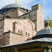 Exterior of the Aya Sophya in the Sultanahmet district of Istanbul. Originally built as a Christian cathedral, then converted to a Muslim mosque, and now a museum, the Aya Sophya is one of the oldest and grandest buildings in Istanbul.