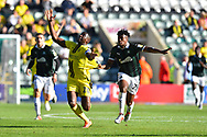 Lucas Akins (10) of Burton Albion has his shirt pulled by Ashley Smith-Brown (23) of Plymouth Argyle during the EFL Sky Bet League 1 match between Plymouth Argyle and Burton Albion at Home Park, Plymouth, England on 20 October 2018.