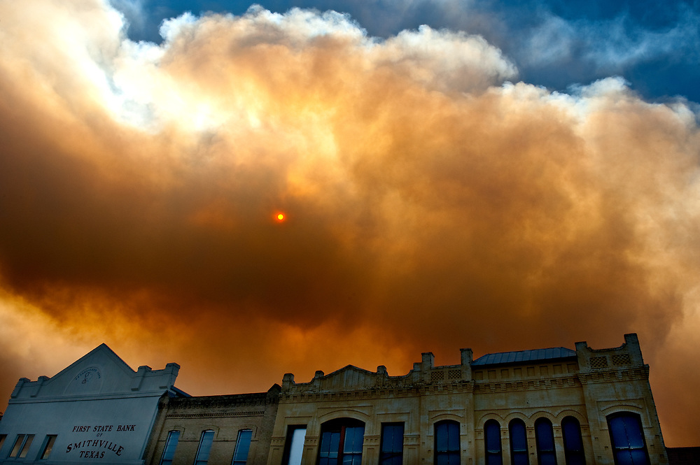 The 2010-2013 southern United States and Mexico drought brought the 32,000 acres Bastrop County Complex fire to central Texas. Pictured here, Smithville, Texas