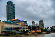 The Oxo Tower is seen lit up blue on July 4, 2020, in London, United Kingdom. Sunday marks the 72nd anniversary of the formation of the National Health Service (NHS). British Landmarks and some football stadiums will be lit up blue as a mark of support and gratitude for the NHS. The UK has hailed its NHS for the work they have done during the Covid-19 pandemic. (VXP Photo/ Erica Dezonne)