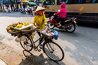 A street vendor selling pineapples from her bicycle in the old quarter, Hanoi, northern Vietnam.