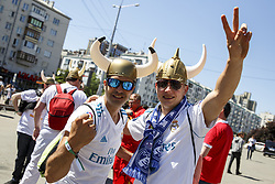 May 26, 2018 - Kiev, Ukraine - Real Madrid fans gather prior the final of the UEFA Champions League in a fanzone downtown Kiev, Ukraine, 26 May 2018. Real Madrid will face Liverpool FC in the UEFA Champions League final at the NSC Olimpiyskiy stadium on 26 May 2018. (Credit Image: © Oleg Pereverzev/NurPhoto via ZUMA Press)