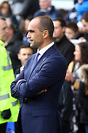 Everton Manager Roberto Martinez  looks on prior to kick off. Barclays Premier League match, Everton v Sunderland at Goodison Park in Liverpool on Sunday 1st November 2015.<br /> pic by Chris Stading, Andrew Orchard sports photography.