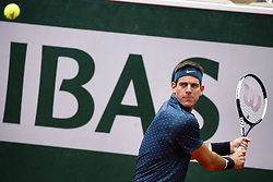 May 28, 2019 - Paris, France - Argentina's Juan Martin del Potro returns the ball to Chile's Nicolas Jarry during their men's singles first round match on day three of The Roland Garros 2019 French Open tennis tournament in Paris on May 28, 2019. (Credit Image: © Ibrahim Ezzat/NurPhoto via ZUMA Press)
