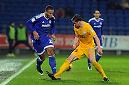 Cardiff City's Kenneth Zohore (l) takes on Preston's Paul Huntington. EFL Skybet championship match, Cardiff city v Preston North End at the Cardiff City stadium in Cardiff, South Wales on Tuesday 31st January 2017.<br /> pic by Carl Robertson, Andrew Orchard sports photography.
