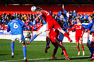 Accrington Stanley defender Mark Hughes (3) clears during the EFL Sky Bet League 1 match between Accrington Stanley and Portsmouth at the Fraser Eagle Stadium, Accrington, England on 27 October 2018.