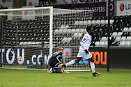 Nathan Dyer of Swansea city celebrates after he scores his teams 2nd goal. The Emirates FA Cup, 5th round replay match, Swansea city v Sheffield Wednesday at the Liberty Stadium in Swansea, South Wales on Tuesday 27th February 2018.<br /> pic by  Andrew Orchard, Andrew Orchard sports photography.