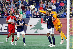 September 22, 2018 - Foxborough, MA, U.S. - FOXBOROUGH, MA - SEPTEMBER 22: Chicago Fire goalkeeper Richard Sanchez (33) punches the ball away over New England Revolution forward Juan Agudelo (17) during a match between the New England Revolution and the Chicago Fire on September 22, 2018, at Gillette Stadium in Foxborough, Massachusetts. The teams played to a 2-2 draw. (Photo by Fred Kfoury III/Icon Sportswire) (Credit Image: © Fred Kfoury Iii/Icon SMI via ZUMA Press)