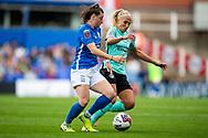 Birmingham City midfielder Lucy Quinn (17) battles for possession with Brighton & Hove Albion defender Emma Koivisto (2) during the FA Women's Super League match between Birmingham City Women and Brighton and Hove Albion Women at St Andrews, Birmingham United Kingdom on 12 September 2021.