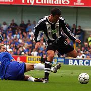 Chelsea's Quine De Lucas slides in on  Newcastle United's Gary Speed