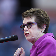 2017 U.S. Open Tennis Tournament - DAY THIRTEEN.  Billie Jean King at the Women's Final opening ceremony before the match between Sloane Stephens of the United States and Madison Keys of the United States during the Women's Singles Final at the US Open Tennis Tournament at the USTA Billie Jean King National Tennis Center on September 09, 2017 in Flushing, Queens, New York City.  (Photo by Tim Clayton/Corbis via Getty Images)