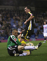 Photo: Rich Eaton.<br /> <br /> West Bromwich Albion v Cardiff City. Carling Cup. 25/09/2007. West Brom's Dean Kiely (L) denies Robbie Fowler a shot on goal.