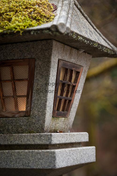 2014 January 01 - Stone lantern with moss, Tsubaki Grand Shrine, Granite Falls, WA. New Years Hatsumode. By Richard Walker