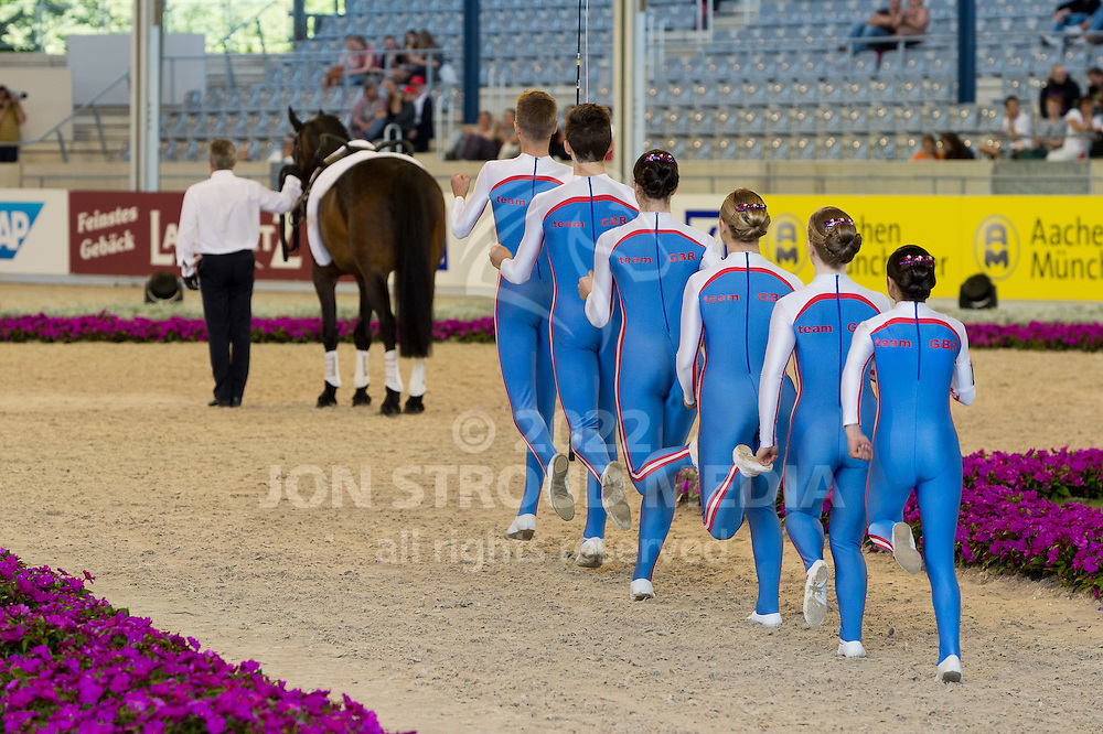 Team Great Britain vaulting squad - (L-R) John Eccles (longer), Harry Cox, Andrew McLachlan, Rebecca Norval, Hannah Young, Lisa Mercer, Kerri Brylka with Tylers Kernel -  Team GBR - FEI European Championships 2015 - Compulsory Squad Test - Aachen, Germany - 20 August 2015