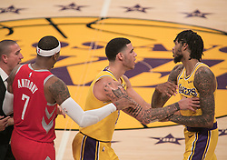 October 20, 2018 - Los Angeles, California, U.S - Brandon Ingram #14 of the Los Angeles Lakers is held back by Lonzo Ball #2 during their NBA game with the Houston Rockets on Saturday October 20, 2018 at the Staples Center in Los Angeles, California. Rondo and Paul were ejected. (Credit Image: © Prensa Internacional via ZUMA Wire)
