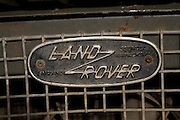 Close up of Land Rover badge on radiator grille made in Solihull, Warwickshire, England