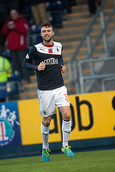 Falkirk's Rory Loy cele scoring their second goal.<br /> Falkirk 4 v 1 Livingston, Scottish Championship game played today at the Falkirk Stadium.<br /> ©Michael Schofield.