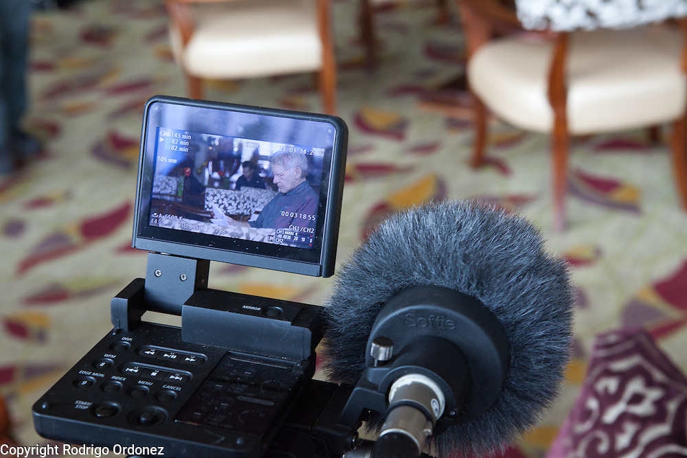 The image of actor and environmental activist Harrison Ford can be seen on a camera's LCD screen as he gets ready for an interview in Jakarta, Indonesia. <br /> Harrison Ford visited Indonesia to learn more about deforestation, as one of the correspondents for Showtime's new documentary series about climate change Years of Living Dangerously.