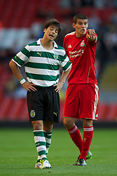 LIVERPOOL, ENGLAND - Wednesday, August 17, 2011: Liverpool's captain Conor Coady in action against Sporting Clube de Portugal's Joao Teixeira during the first NextGen Series Group 2 match at Anfield. (Pic by David Rawcliffe/Propaganda)