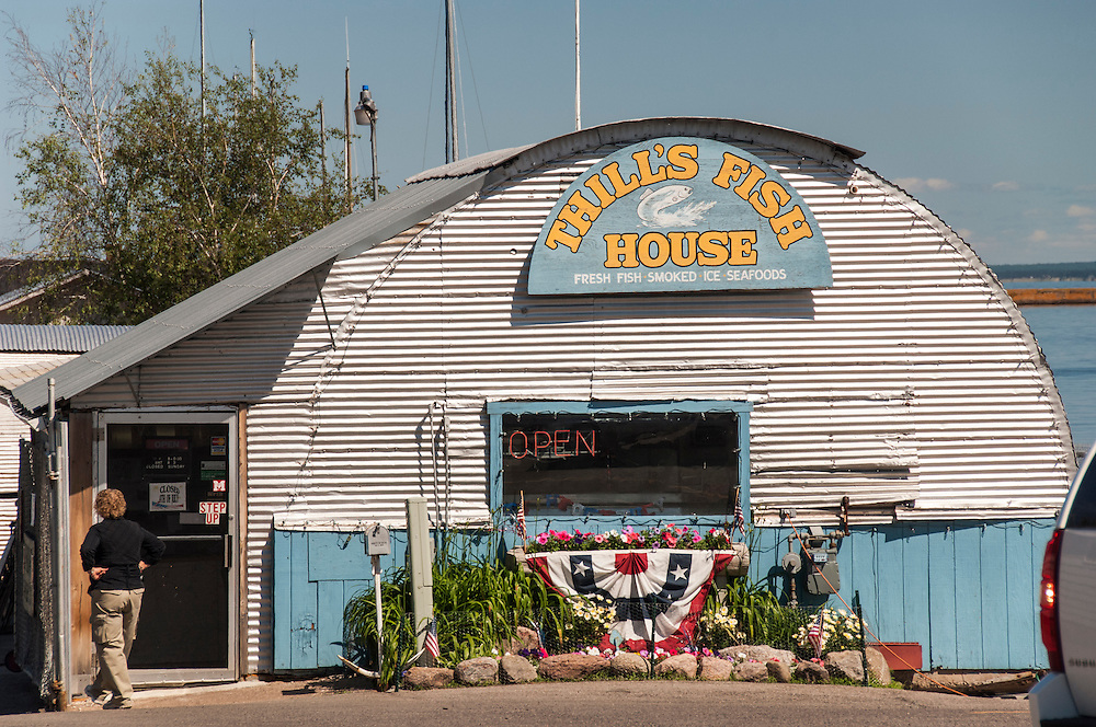 Iconic Thills Fishery on the waterfront of Marquette, Michigan.