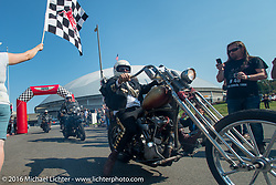 Sean Duggan riding his 1929 Harley-Davidson JD crosses over the finish at the end of Stage 16 (142 miles) of the Motorcycle Cannonball Cross-Country Endurance Run, which on this day ran from Yakima to Tacoma, WA, USA. Sunday, September 21, 2014.  Photography ©2014 Michael Lichter.