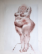 Fat nude woman standing as seen from the frnt. Photograph of an acrylic painting by Vladi Alon. Property release available