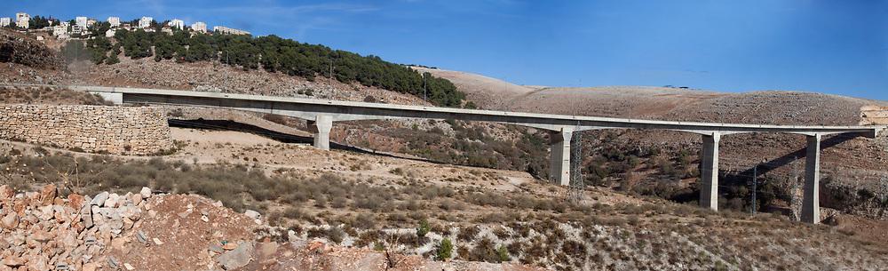 Railway bridges on the new Tel Aviv to Jerusalem railway line the longest and tallest such bridge in Israel