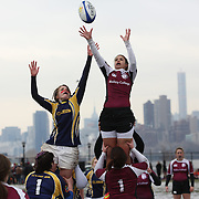 Players contest a line out during the Clarion vs Molloy Women's Gollege Division game at the Four Leaf 15s Rugby Tournament which attracted over 60 clubs teams from New York and Interstate. Randall's Island Park, New York,  USA. 21st March 2015. Photo Tim Clayton