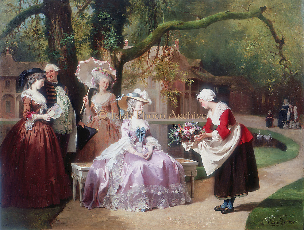 Empress Eugenie presented with bouquet by peasant girl. Eugenie de Montijo (1826-1920) Spanish-born wife of Napoleon III of France.  J Carand. Oil on canvas.