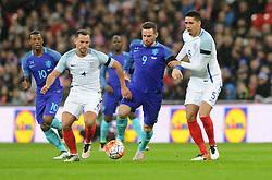 Vincent Janssen of the Netherlands battles for the ball with Chris Smalling of England  - Mandatory by-line: Dougie Allward/JMP - 29/03/2016 - FOOTBALL - Wembley Stadium - London, United Kingdom - England v Netherlands - International Friendly