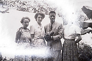 interracial couple with friends France 1952 photo with light reflection