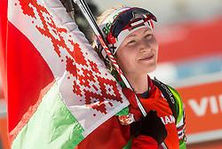 DOMRACHEVA Darya of Belarus celebrates after winning during Women 12.5 km Mass Start competition of the e.on IBU Biathlon World Cup on Sunday, March 9, 2014 in Pokljuka, Slovenia. Photo by Vid Ponikvar / Sportida