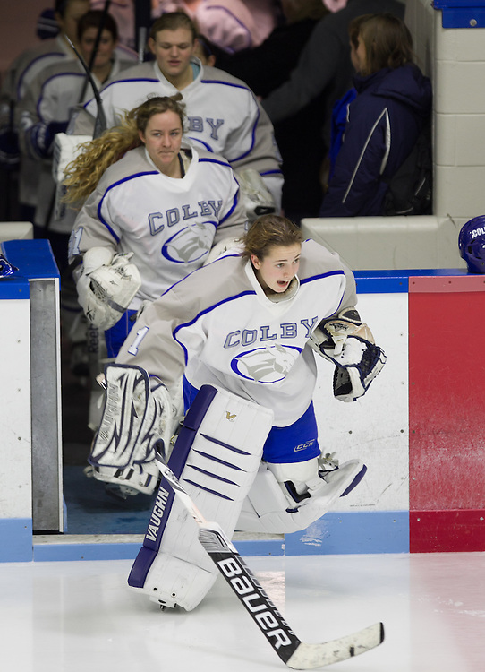 Jessica Thulin, of Colby College, in a NCAA Division III hockey game against Saint Anselm College on December 5, 2014 in Waterville, ME. (Dustin Satloff/Colby College Athletics)