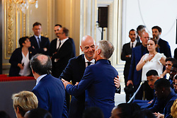 FIFA president Gianni Infantino and French soccer team head coach Didier Deschamps embrace each others during a ceremony to award French 2018 football World Cup winners with the Legion of Honour at the Elysee Palace in Paris, on June 4, 2019. Photo by Hamilton/pool/ABACAPRESS.COM