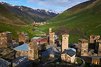 Georgie, Svanetie, la Haute Svanetie, Ushguli, village le plus haut d'Europe avec les maisons tours appellées Koki // Georgia, Svaneti, Ushguli, the highest village of Europe with their towers called Koki