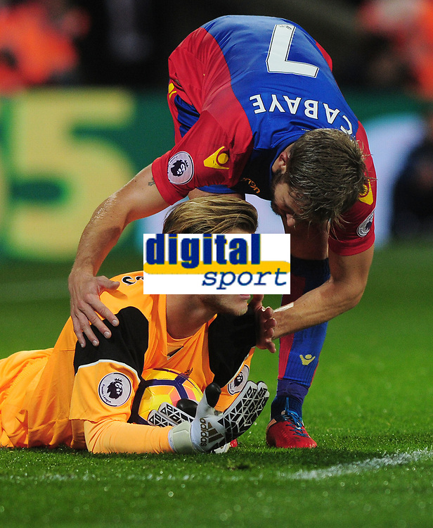 Football - 2016 / 2017 Premier League - Crystal Palace vs. Liverpool<br /> <br /> Yohan Cabaye of Crystal Palace checks on Loris Karius of Liverpool at Selhurst Park.<br /> <br /> COLORSPORT/ANDREW COWIE