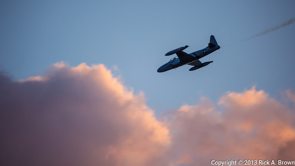 Greg Colyer flying maneuvers in his Canadair CT33 at the Airshow of the Cascades.