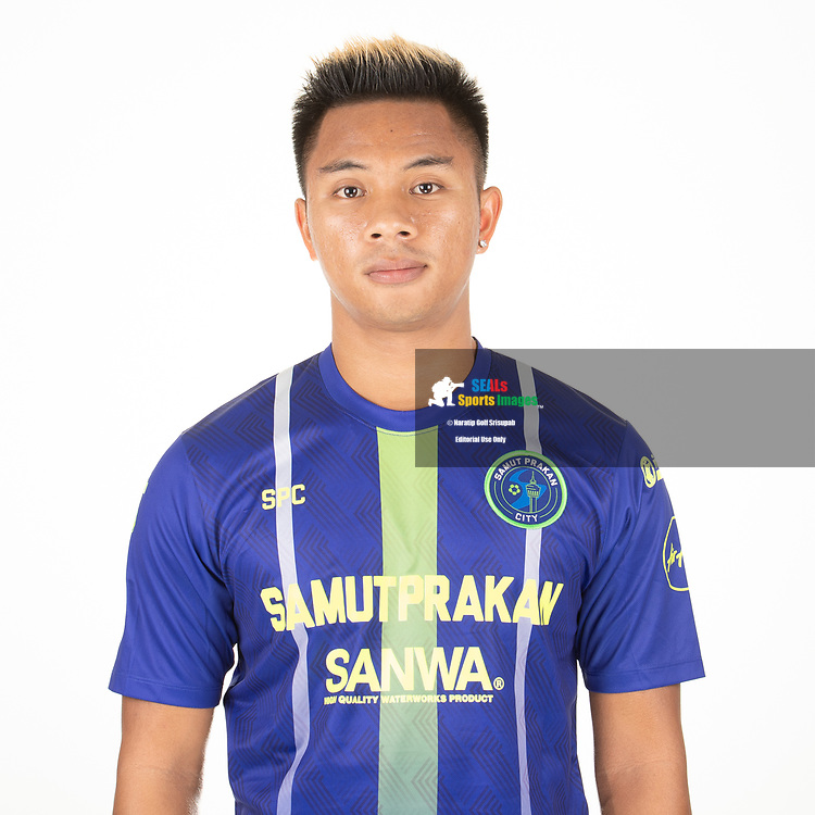 THAILAND - APRIL 09: Jakkapan Praisuwan #7 of Samut Prakan City FC on April 09, 2019.<br /> .<br /> .<br /> .<br /> (Photo by: Naratip Golf Srisupab/SEALs Sports Images/MB Media Solutions)