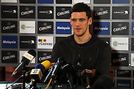 Mark Hudson , Cardiff city capt  talks to press.  Cardiff city football club hold their press conference at the Vale, Hensol near Cardiff ahead of their Carling cup final match against Liverpool on Thursday 23rd Feb 2012.  pic by Andrew Orchard, Andrew Orchard sports photography, .