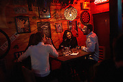 MACEDONIA January 2016. Skopje. People hang out in the bar MENADA in the old bazaar in Skopje. The old bazaar and the bars and clubs there provide space where Mazedonians and Albanians get together. (Photo by Gregor Zielke)