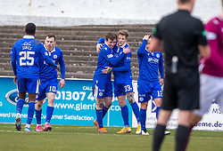 06MAR21 Queen of the South's James Maxwell cele  scoring their second goal. Arbroath 2 v 4 Queen of the South, Scottish Championship played 6/3/2021 at Arbroath's home ground, Gayfield Park.